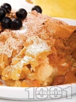 Лесен ябълков щрудел с кори от домашно тесто, стафиди и канела - снимка на рецептата